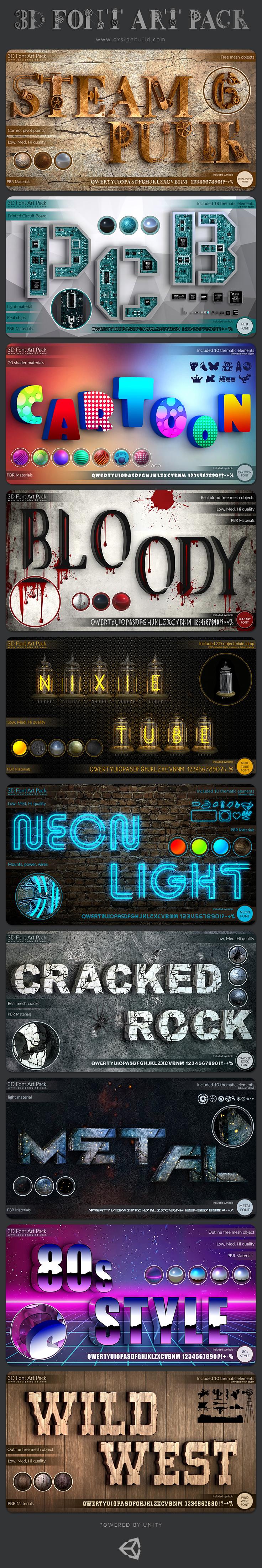 3D Font text textmesh 3D text 3d titles UI alphabet symbol elements GUI