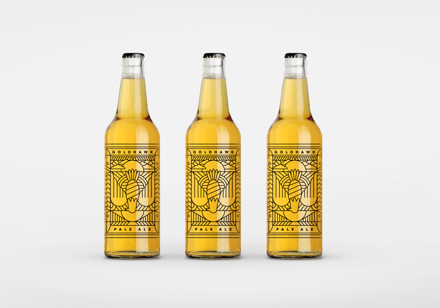 Goldhawk Ale beer packaging and identity by Don't Try Studio
