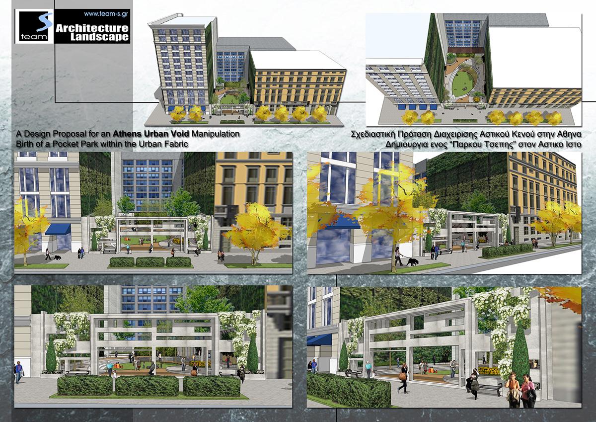 Landscape design pocket parks urban voids for athens on behance - Small urban spaces image ...