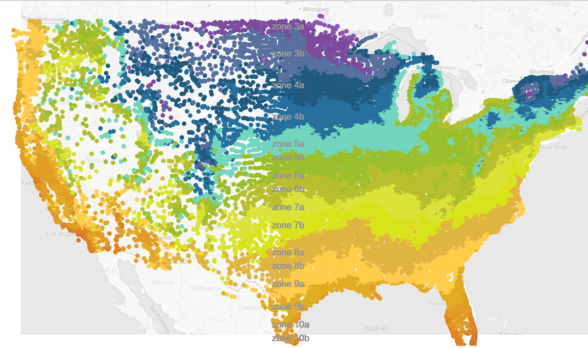 US Climate planting zone visualizations on Behance