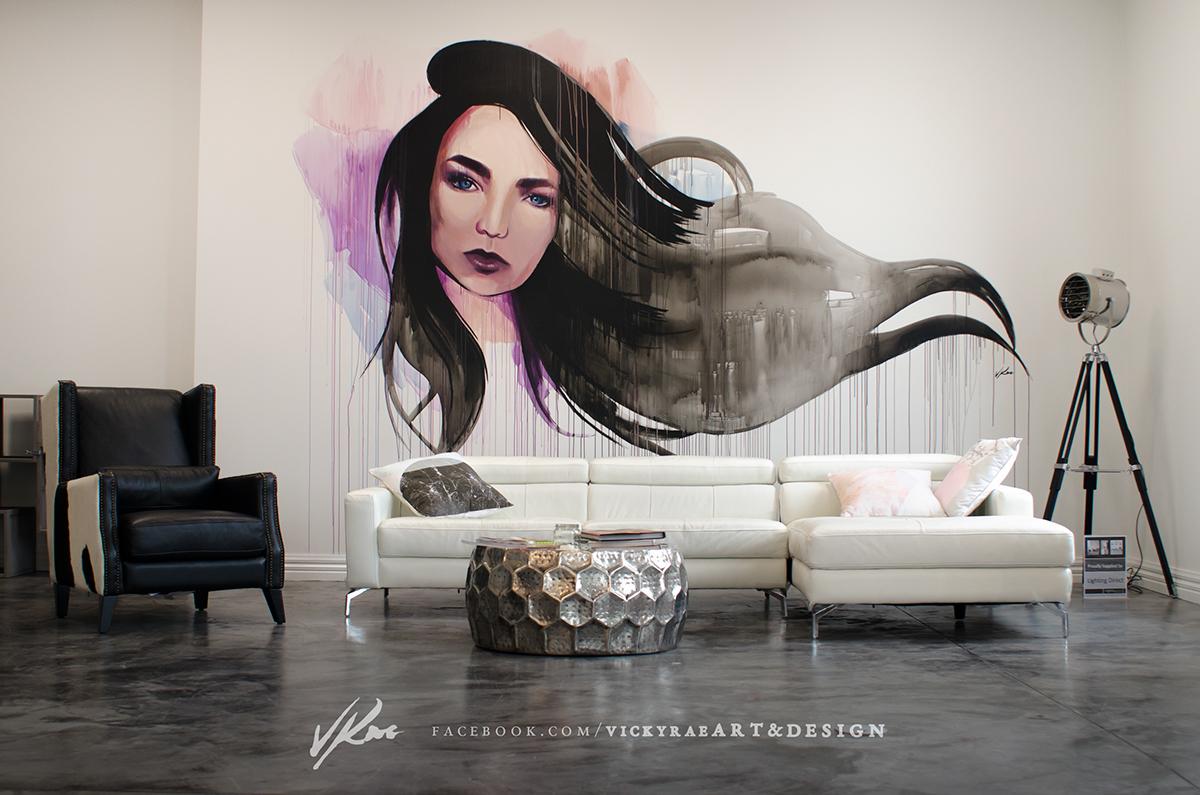 Hair salon wall mural on behance for 3 little birds salon
