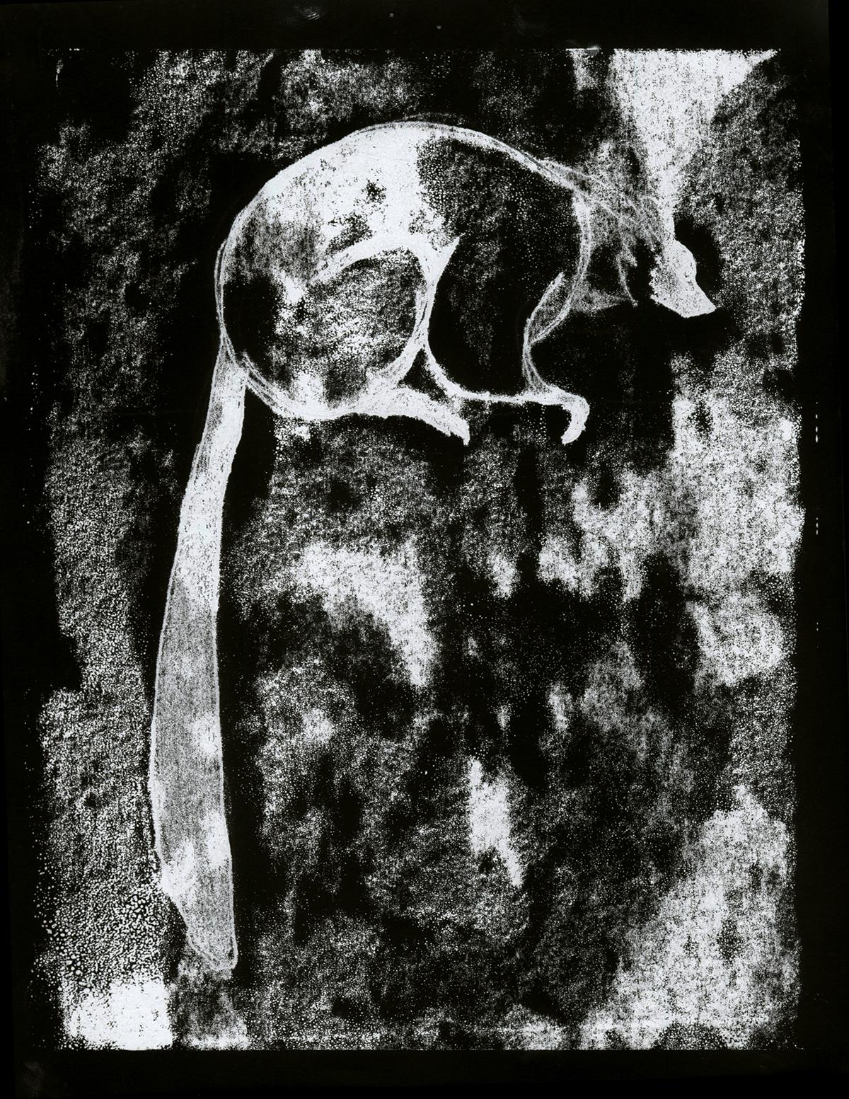 lemur lemurs reductive linocut