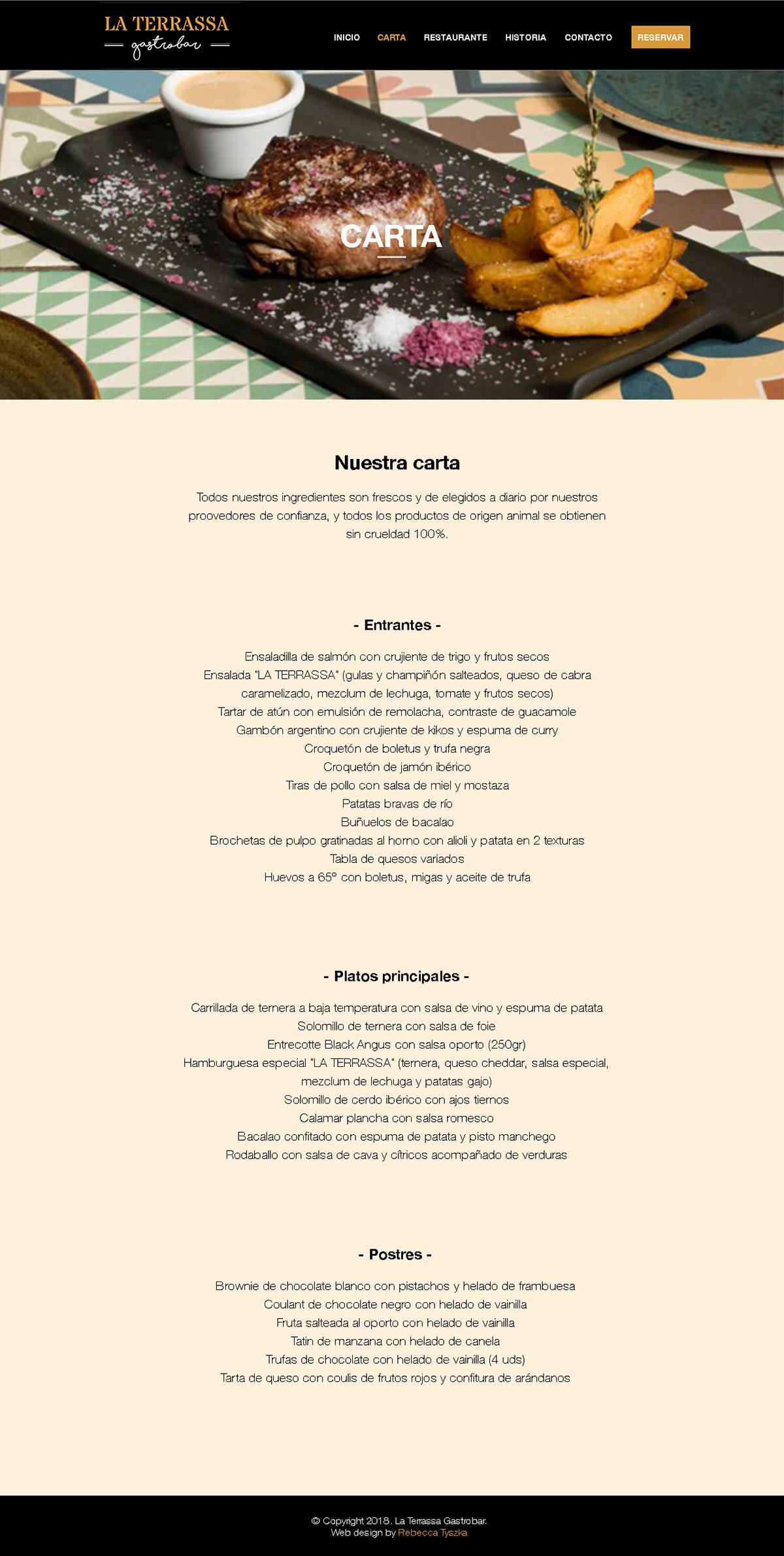 La Terrassa Gastrobar | Plantilla página web on Behance