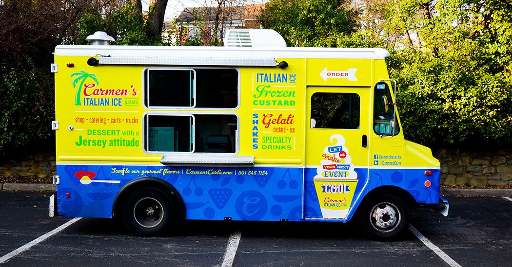 Carmens Italian Ice and Cafe, Food Truck Design, Restaurant Branding, Rockville, MD