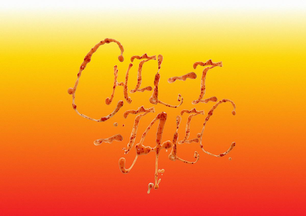 Chilli Sauce font Food  graphic design  handmade font type typography   chili New Zealand sauce