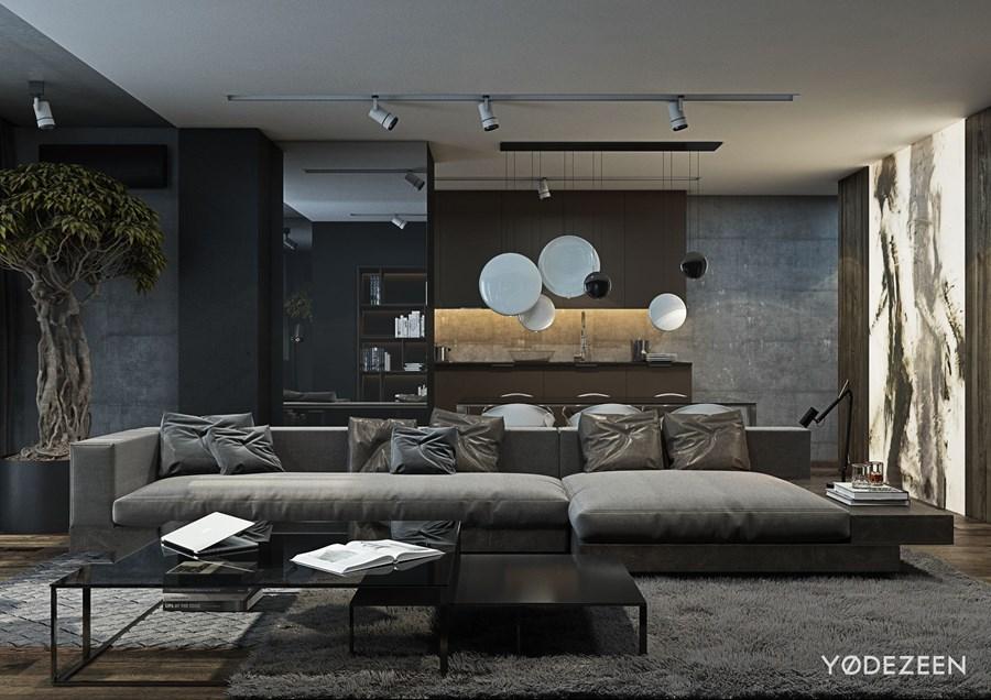 Residence on street staromavodnitskaia by yodezeen on behance for Living room designs for bachelors