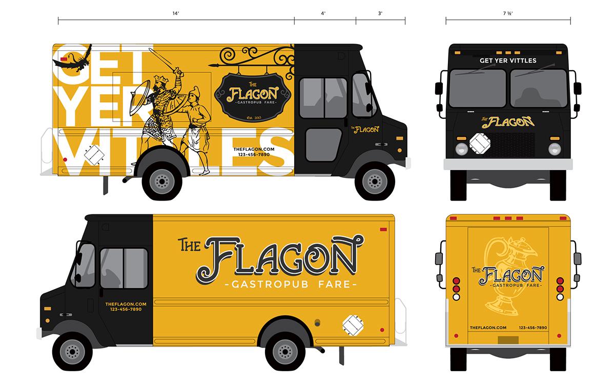 Food  Food truck restaurant gastropub medieval middle ages design concept Concepting Vehicle Wrap Tshirt Design Logo Design menu euro-inspired