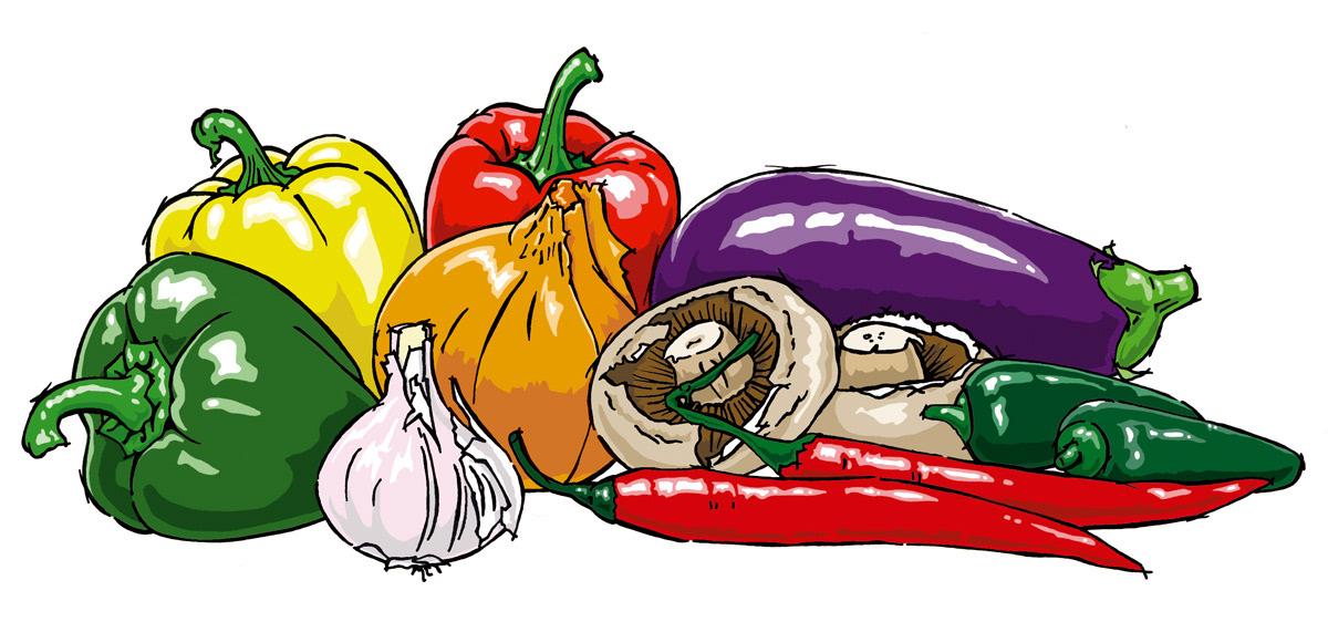 flat colour vector Food  drink figurative animals Fruit man woman stylised