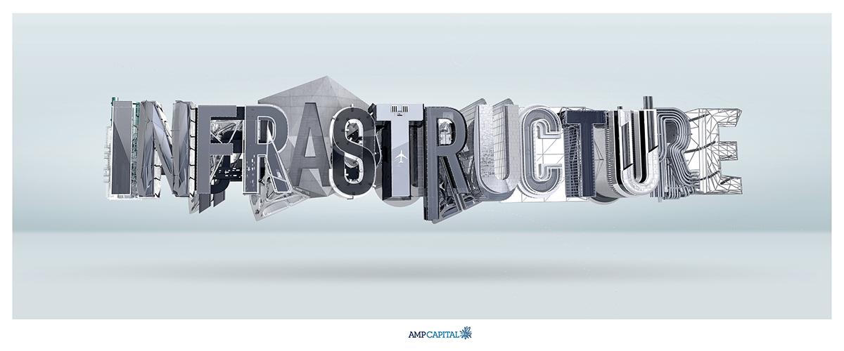 Amp infrastructure like minded studio 3D type graphics digital sculpture installation Cinema 4dxl LUCA IONESCU