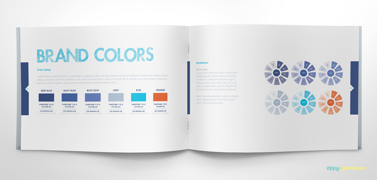 Free Brand Book Template - Cool Blue on Pantone Canvas Gallery