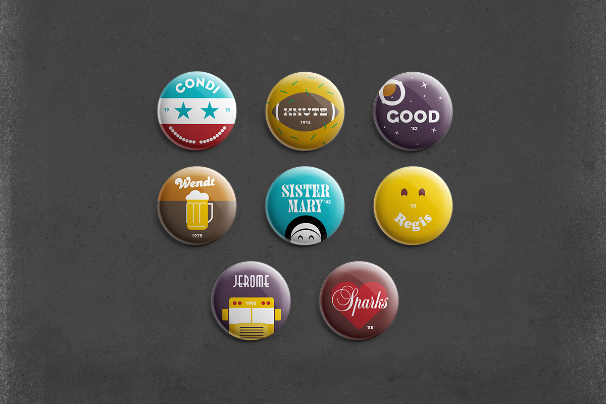 branding  buttons pins ILLUSTRATION  higher education college University