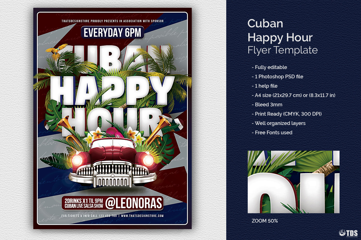 Cuban Happy Hour Flyer Template On Behance