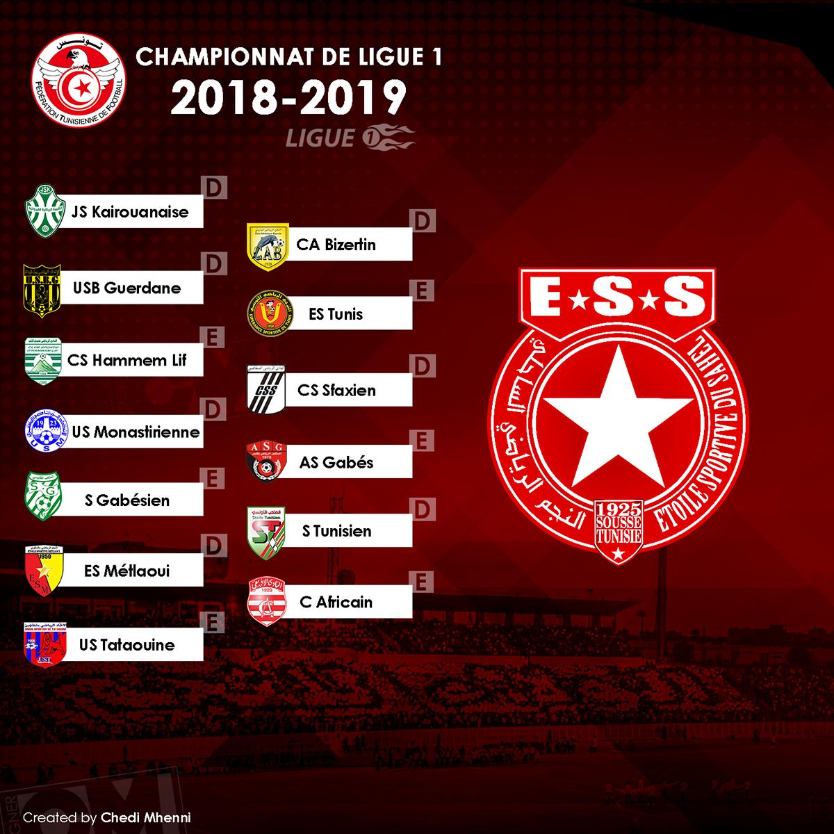 Calendrier Championnat Tunisien.Calendrier Championnat De Tunisie 2018 2019 On Behance