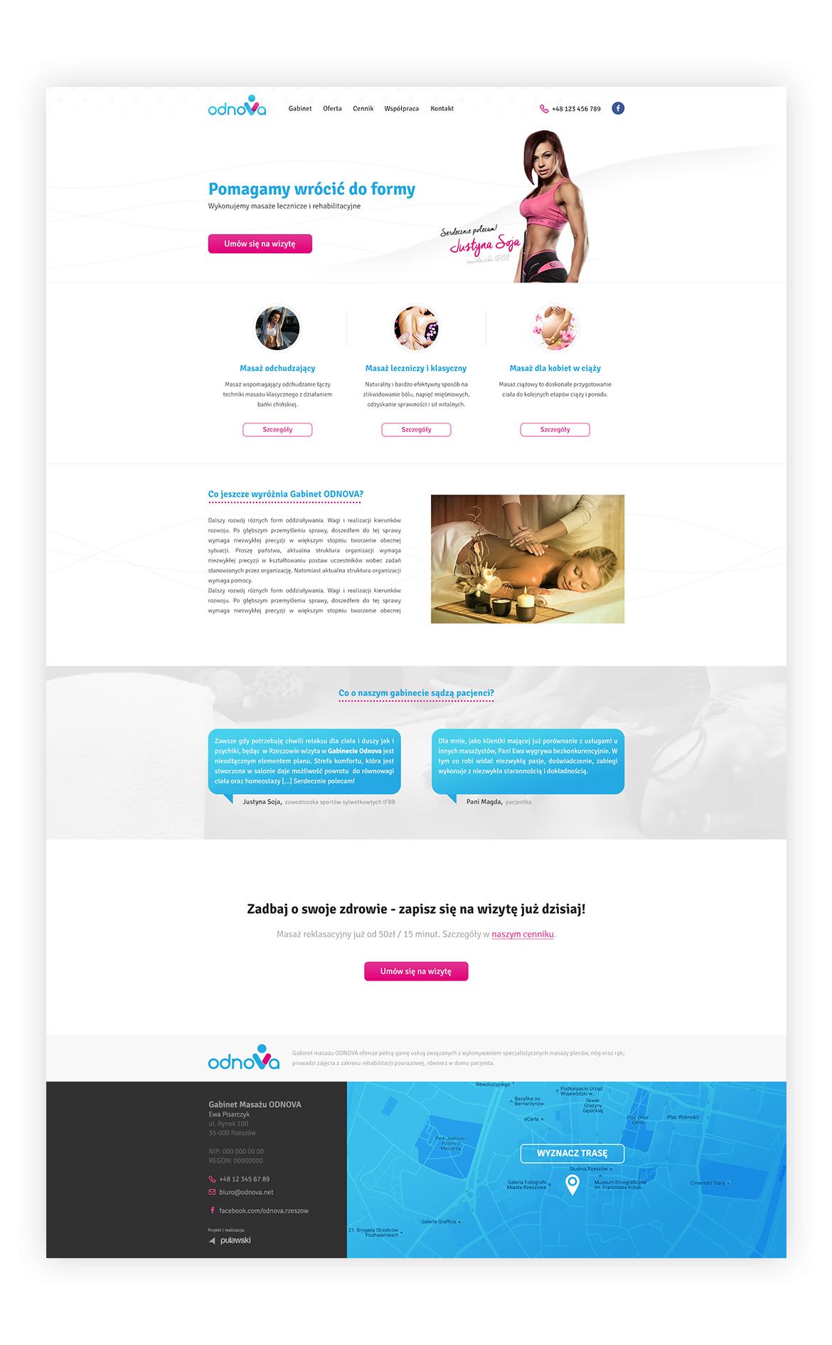 massage salon odnova Massage Website Spa Website blue pink