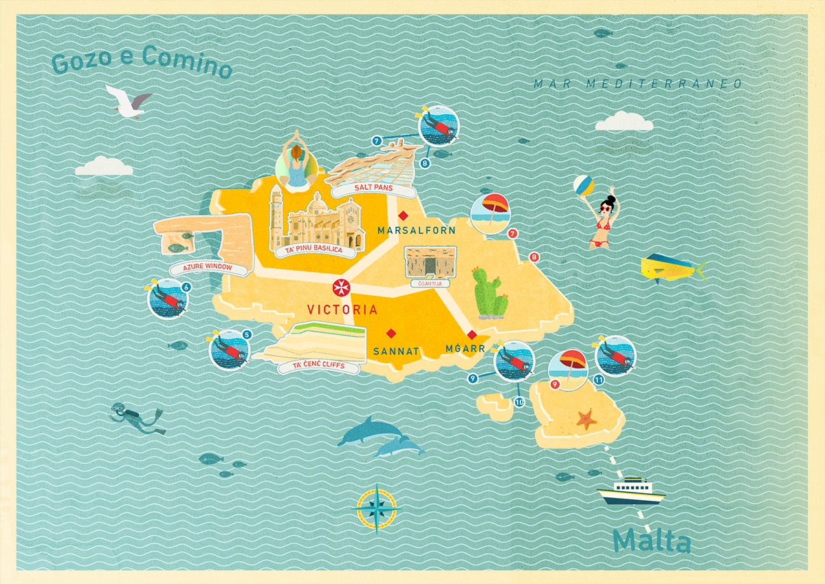 Malta Illustrated map on Behance