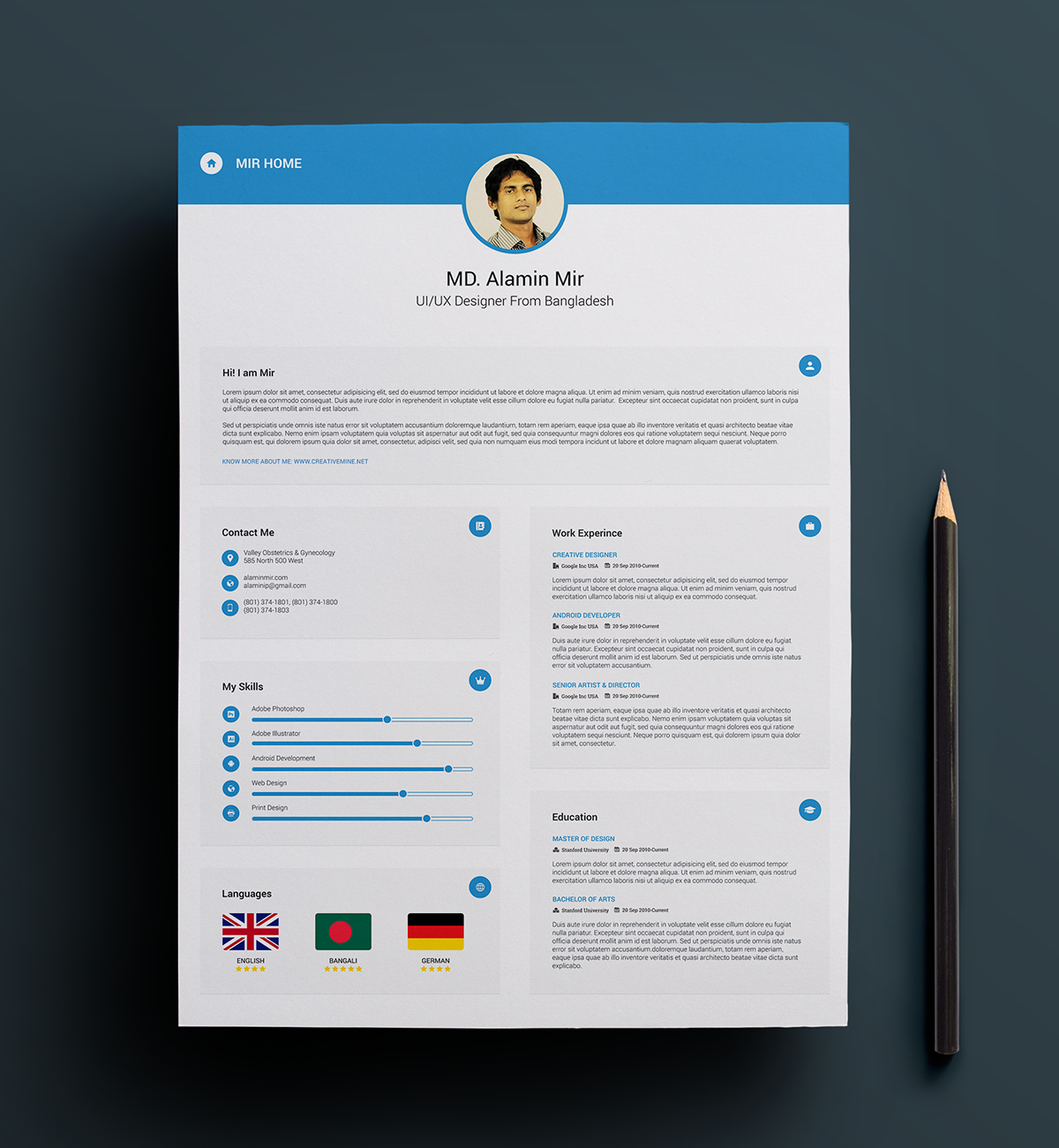 Free Resume With Business Card On Behance  Resume Business Cards