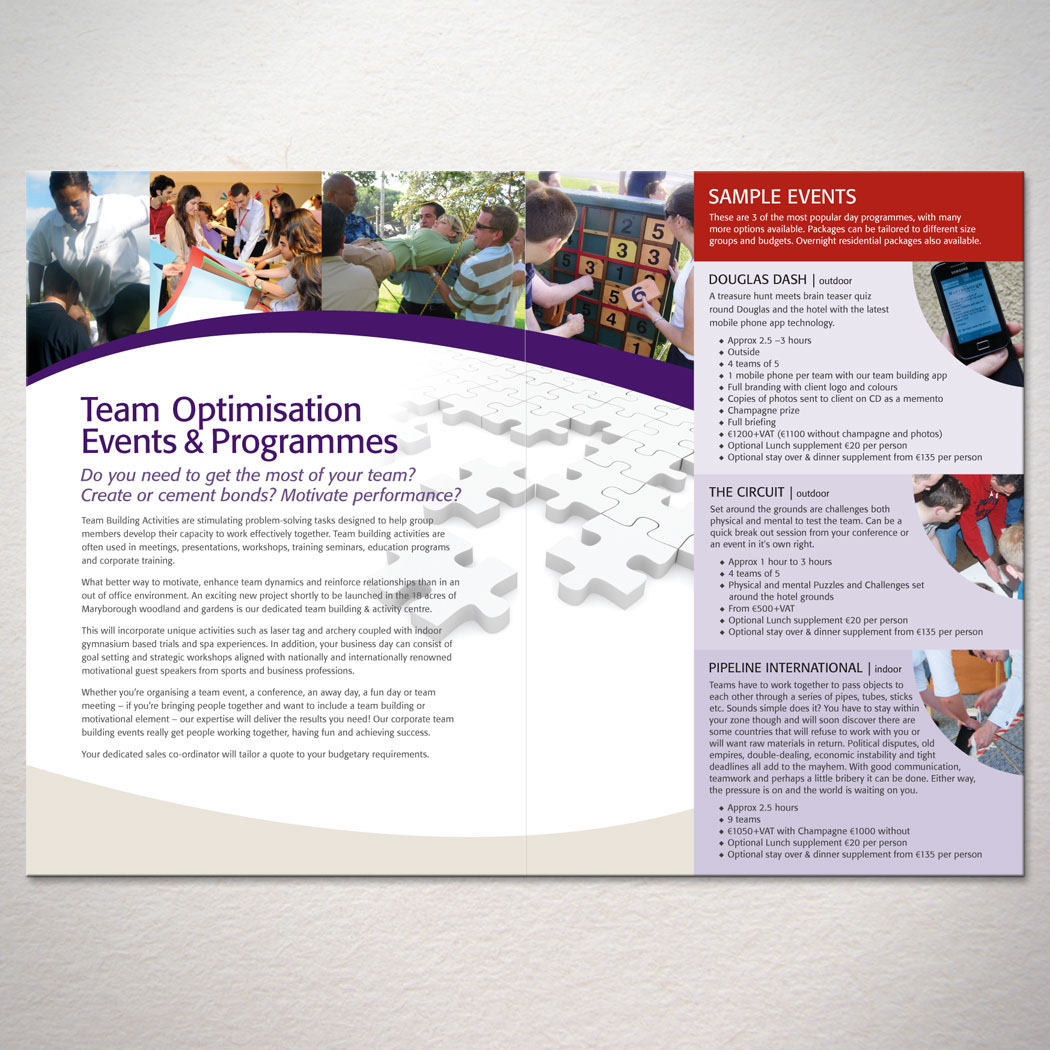 tengotwo creative solutions brochures promoting the team optimization co op program between rebel corporate and maryborough house hotel