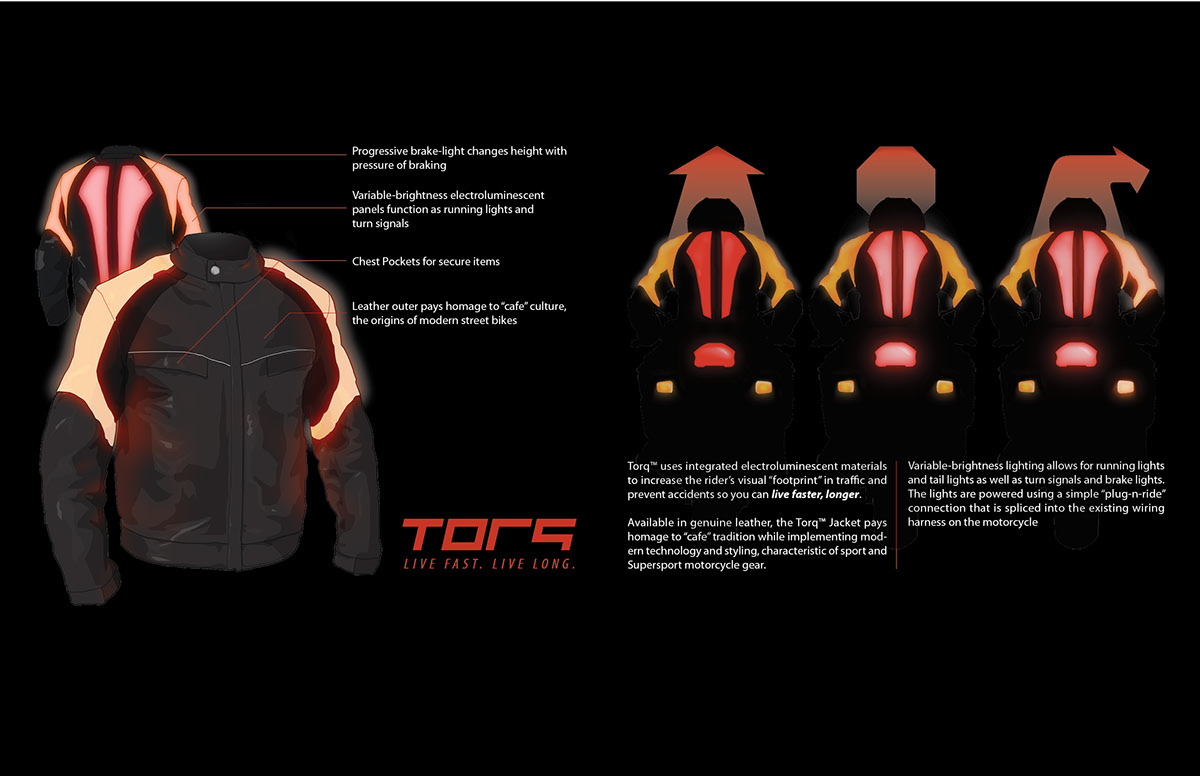 Torq Motorcycle Jacket On Behance Wiring Harness Is A Project Focused Decreasing The High Fatality Rate Of Motorcyclists By Increasing Their Conspicuity Road