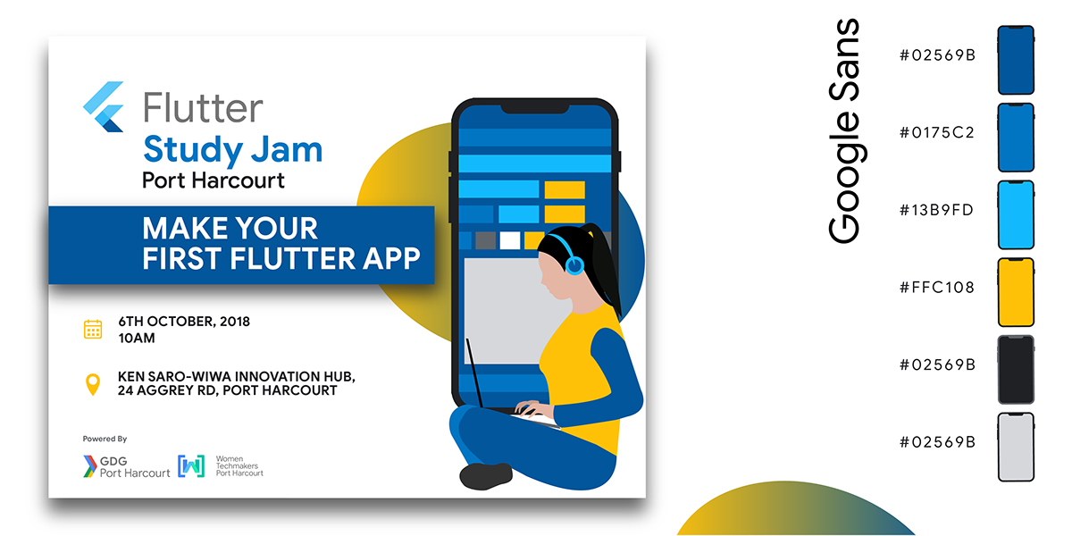 Banner Design for Flutter Study Jam, Port Harcourt on