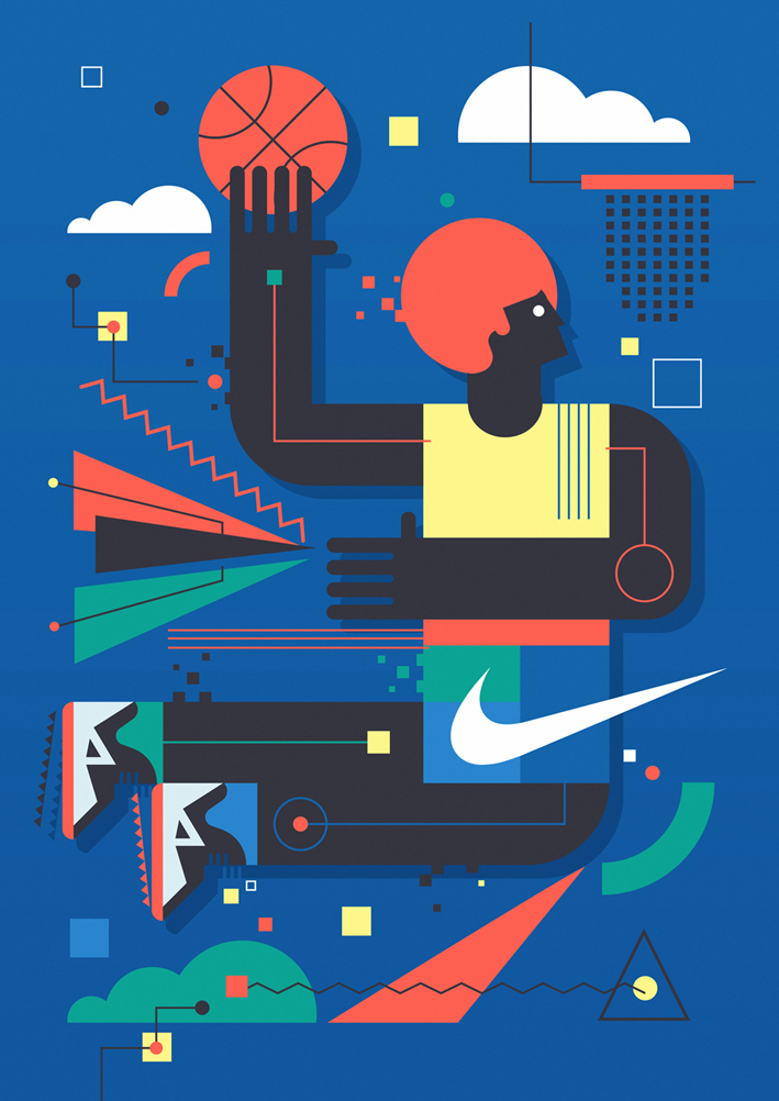 Nike wall mural on behance for Basketball court wall mural