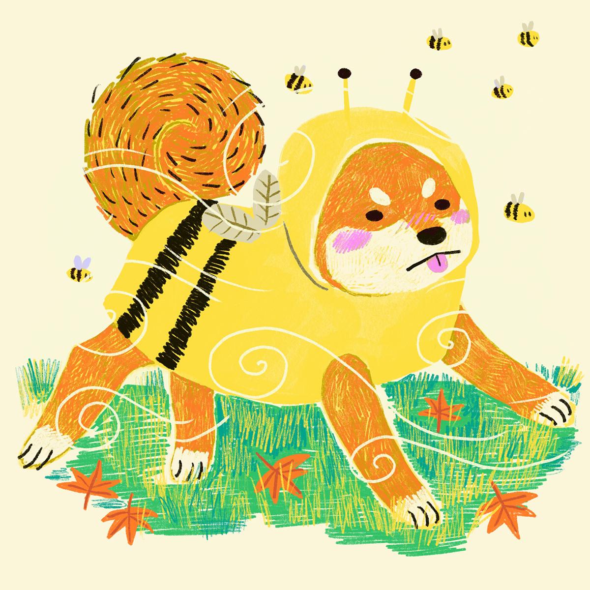 children's illustration dog illustration kidlitart kidlitillustration shibainu