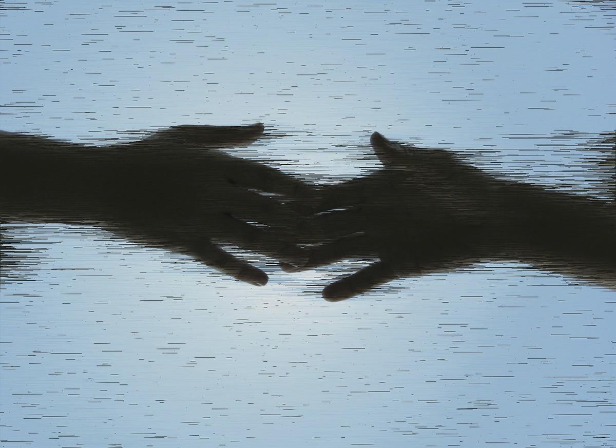 holding hands photo Glitch art pixel sorting processing Script ashes rebirth finger evolution