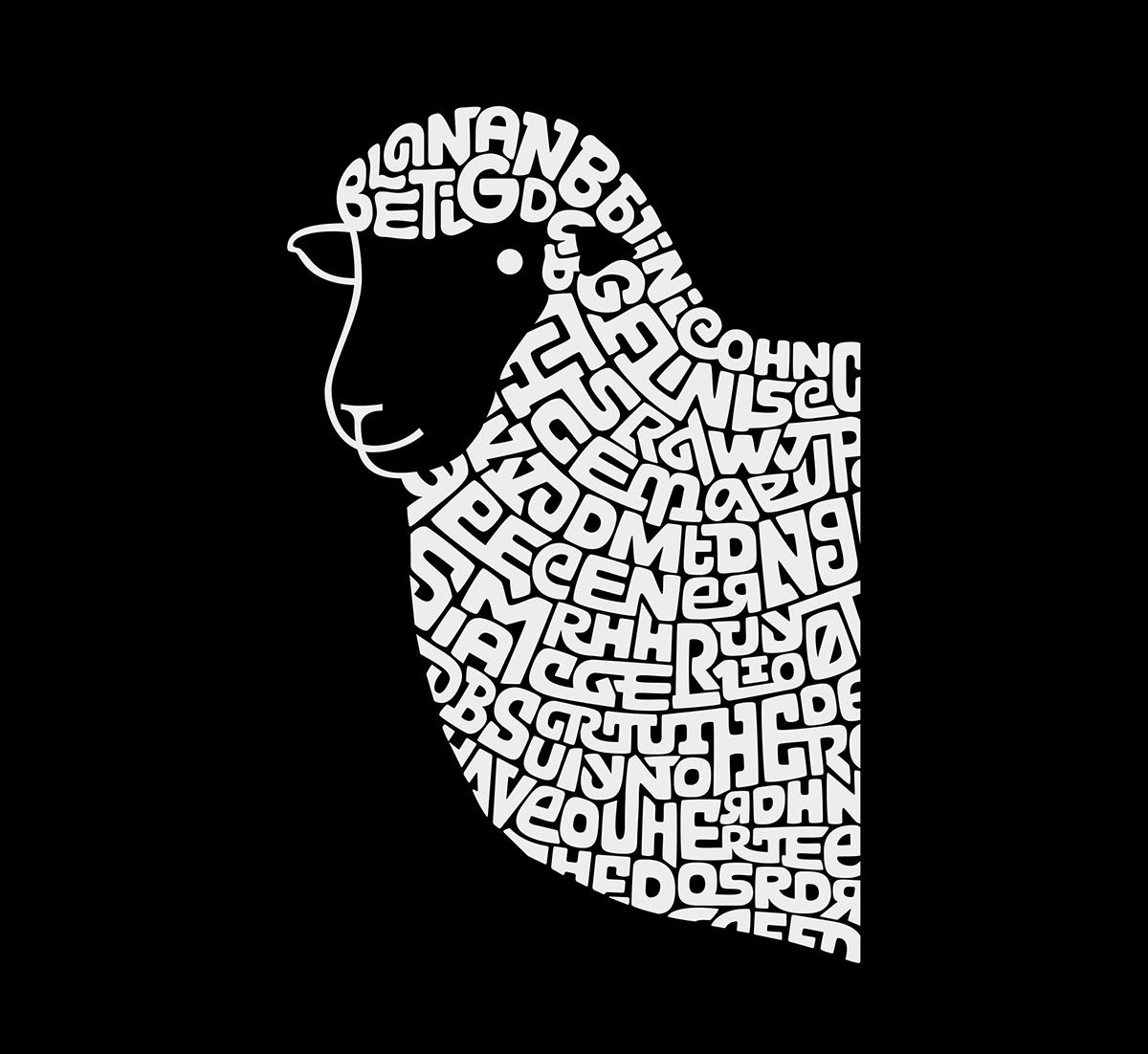 lettering logo Calligram sheep