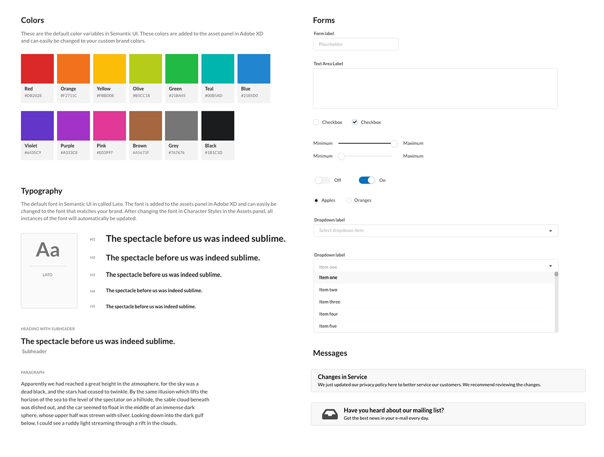 Design Systems Semantic UI Kit for Adobe XD on Behance