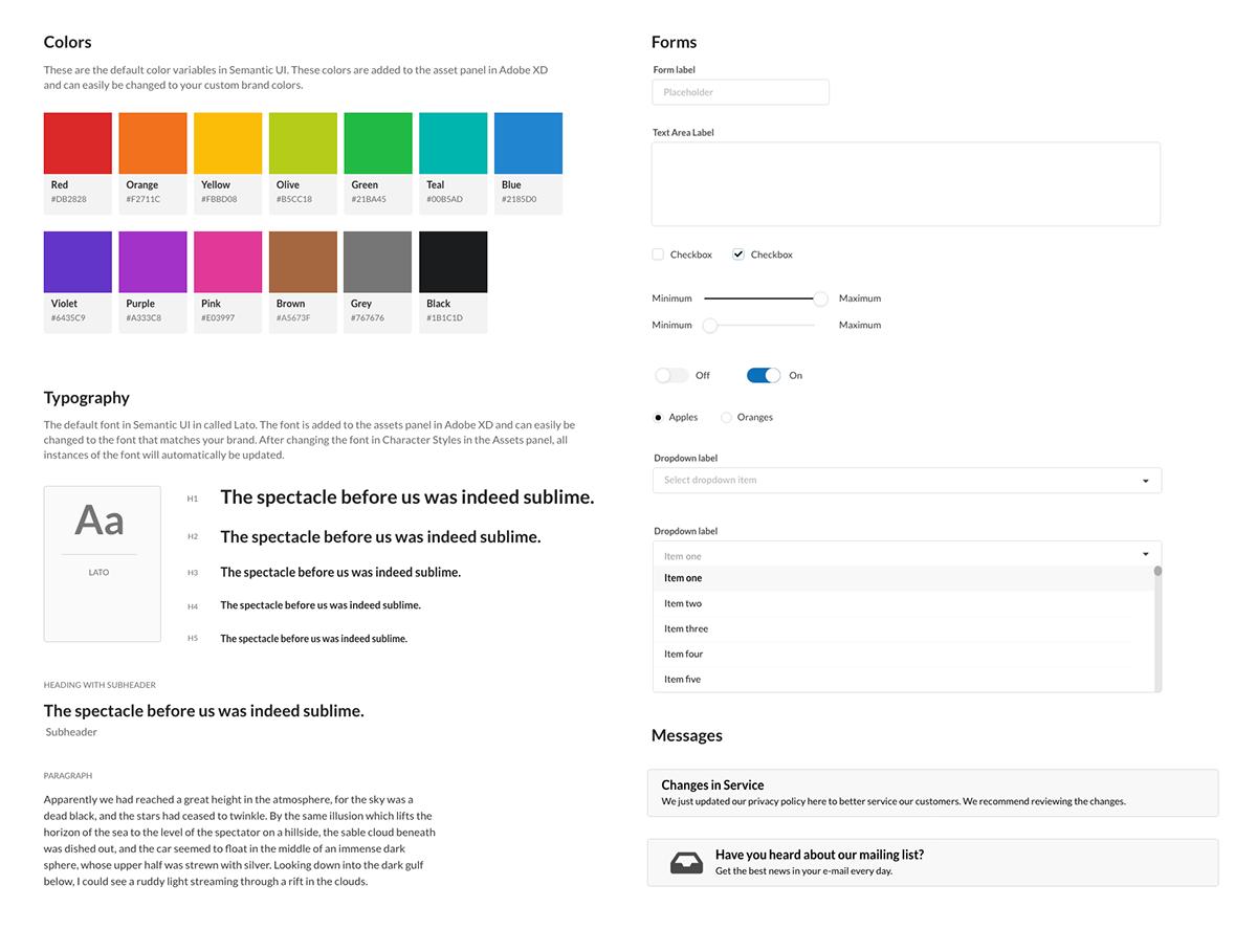 Design Systems Semantic Ui Kit For Adobe Xd On Behance
