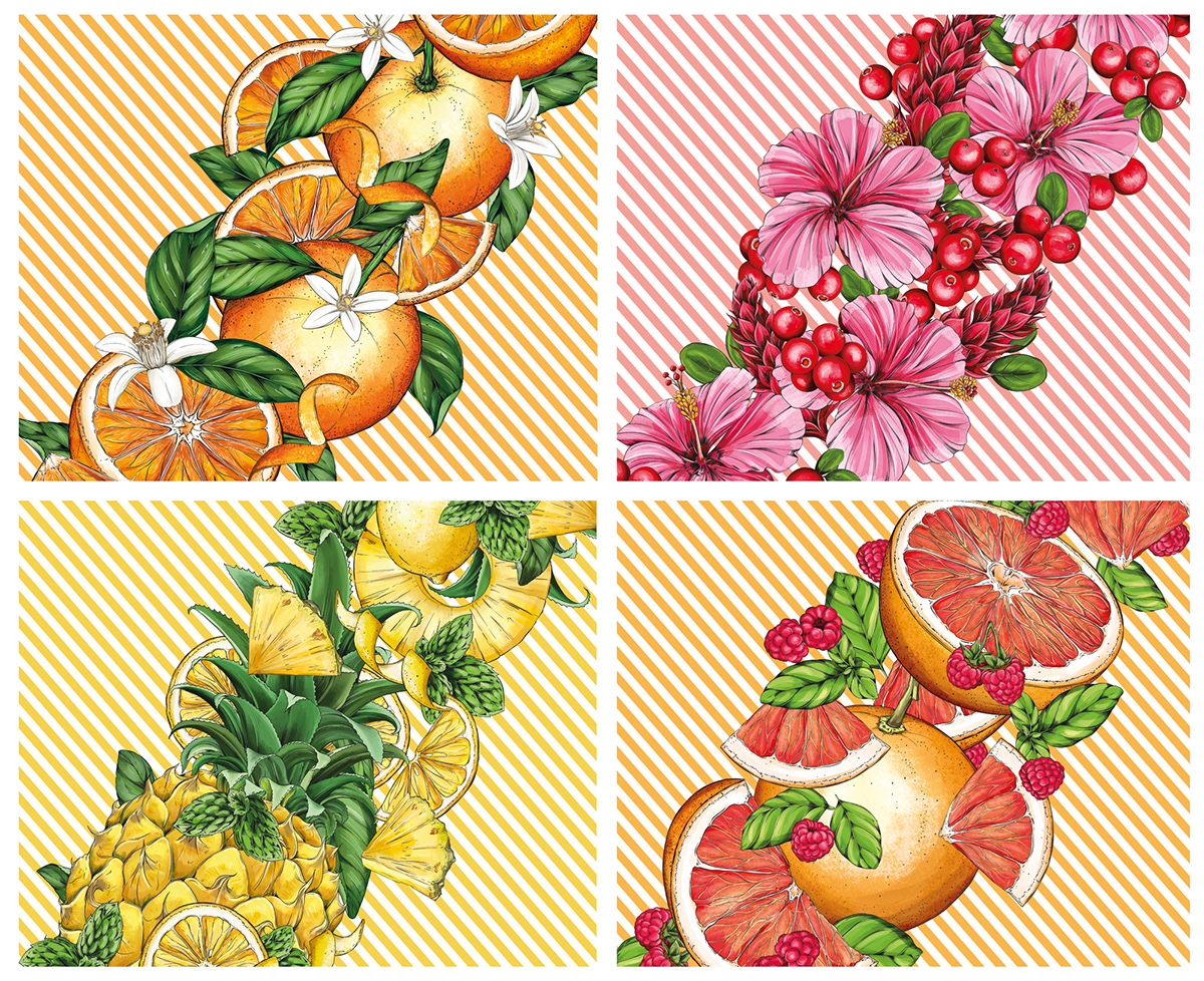 illustrated intricate fruits and florals on striped backgrounds.