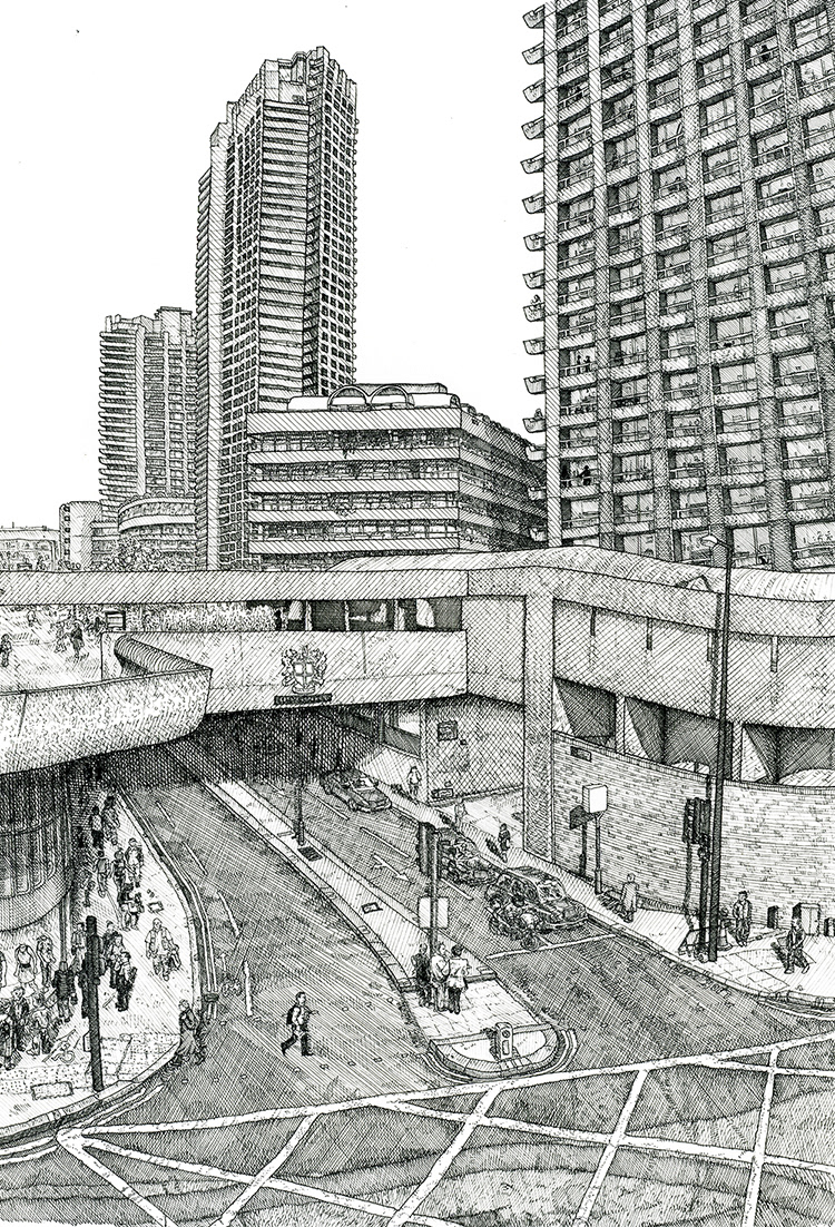 arhitecture black and white Brutalism Brutalist cross hatching detail Drawing  line drawing Urban