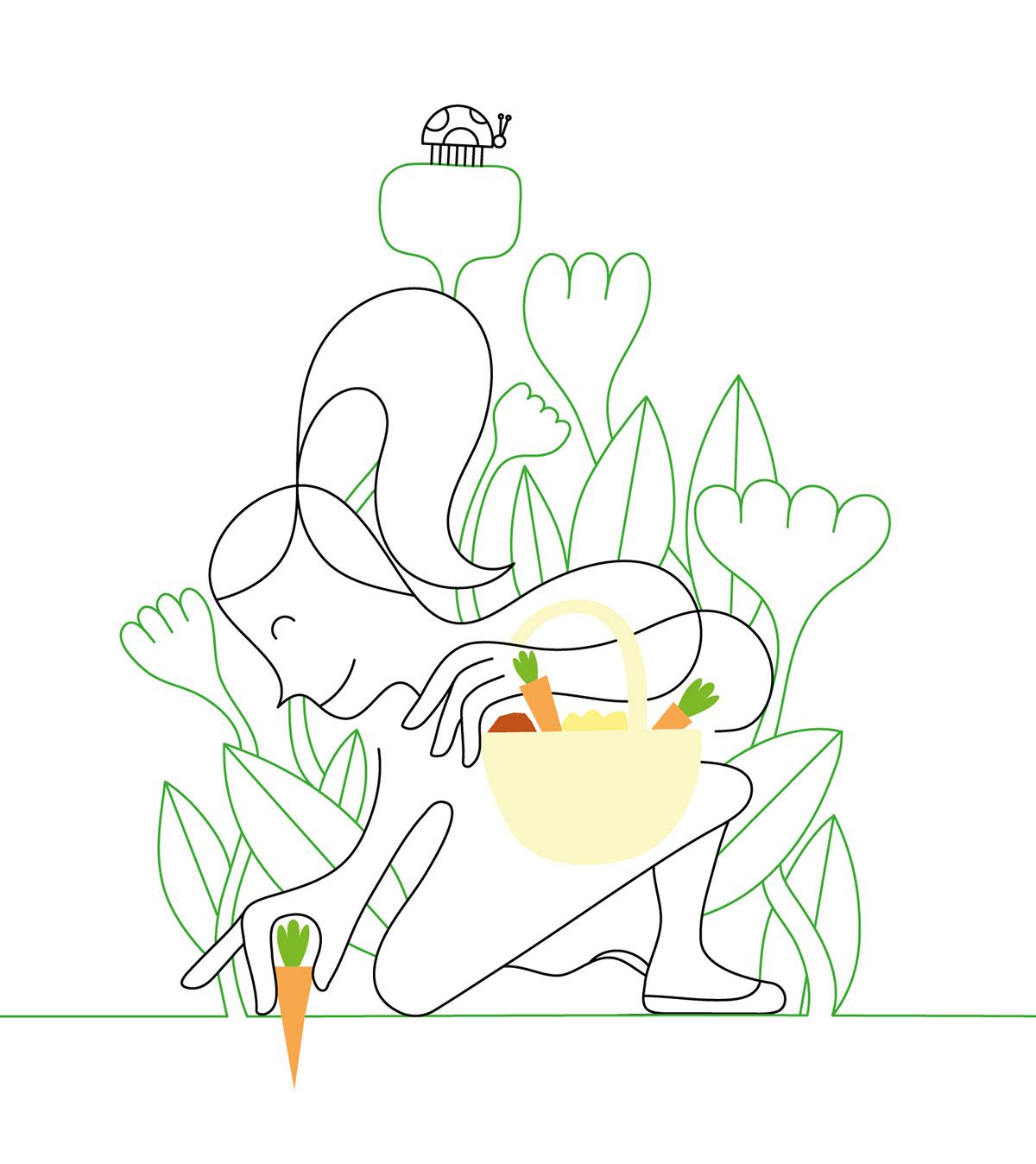 connection natura plants creative oneline minimal design Love heart Pack