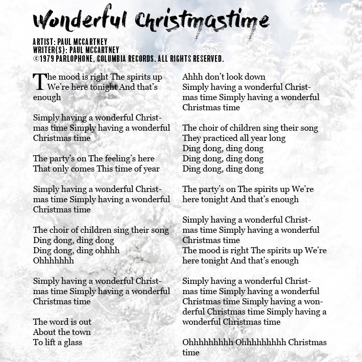 lyric booklet - Simply Having A Wonderful Christmas Time Lyrics