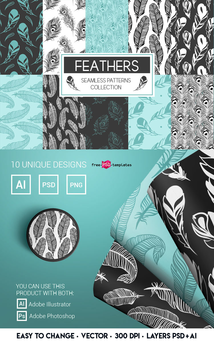 FREE VECTOR FEATHERS SEAMLESS PATTERNS on Behance