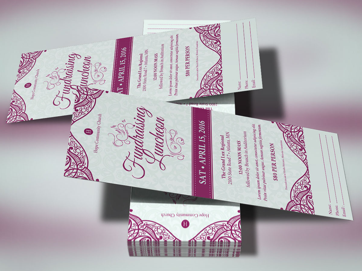 Fundraising Luncheon Ticket Template on Behance – Fundraising Ticket Template