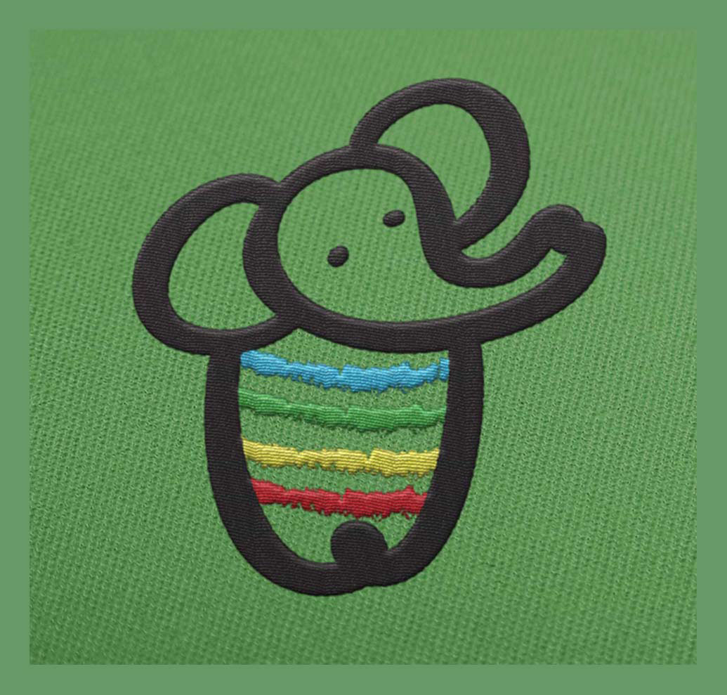 KIDS CLOTHS BRAND LOGO FOR CHILDREN BABY ELEPHANT ICON COLORFUL SIGN e-shop logo Kids room decoration hand drawn logo ilustration for children LOGO Słoń monochromatic logo