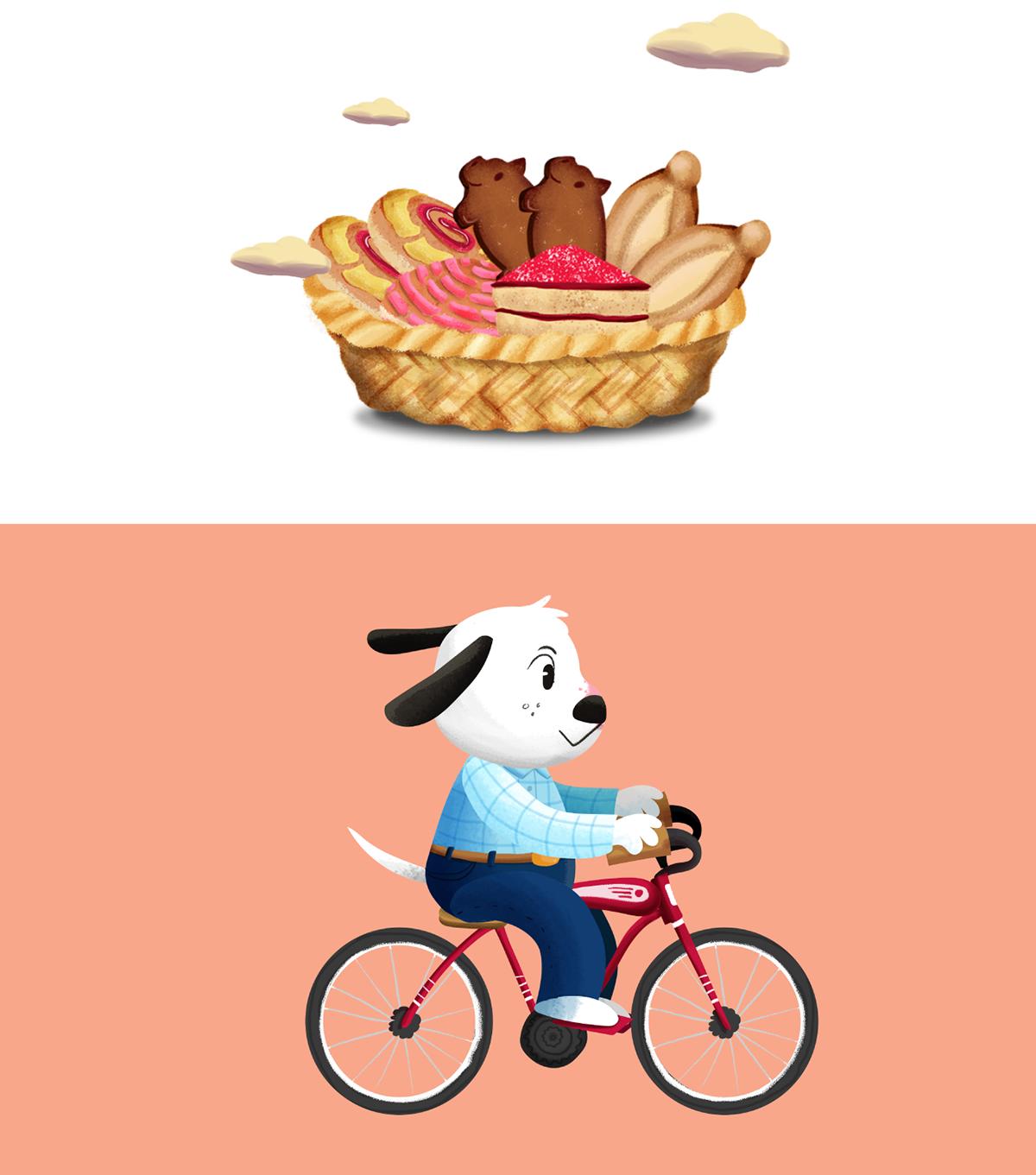 baker bread cartoon cute dog mexico Pan pandero