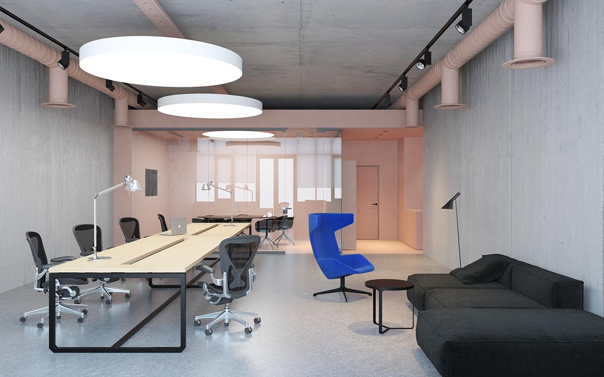 #emildervish officedesign Office pink hay aeronmiller artemide knoll concrete kiev #dtile bathroom dornbracht