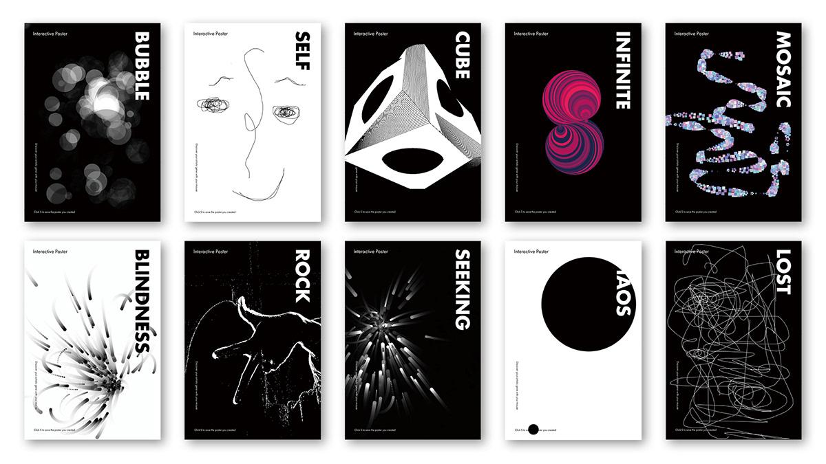 Adobe Portfolio processing interactive posters posters sitema graphic design  coding Poster Design adobeawards