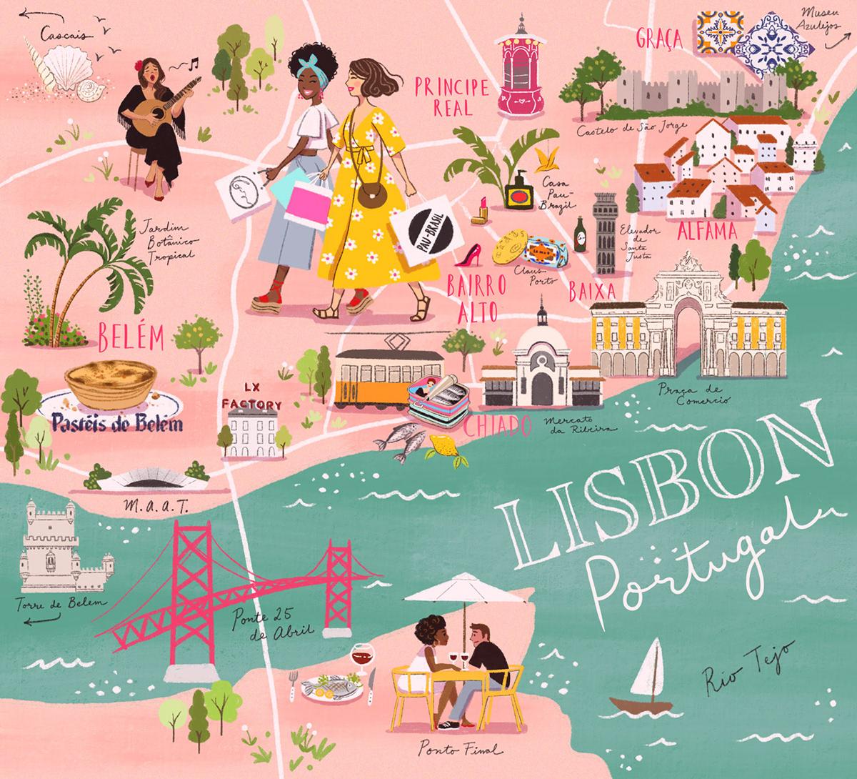ILLUSTRATION  Lisbon map illustrated map colorful cute Alfama graça chiado