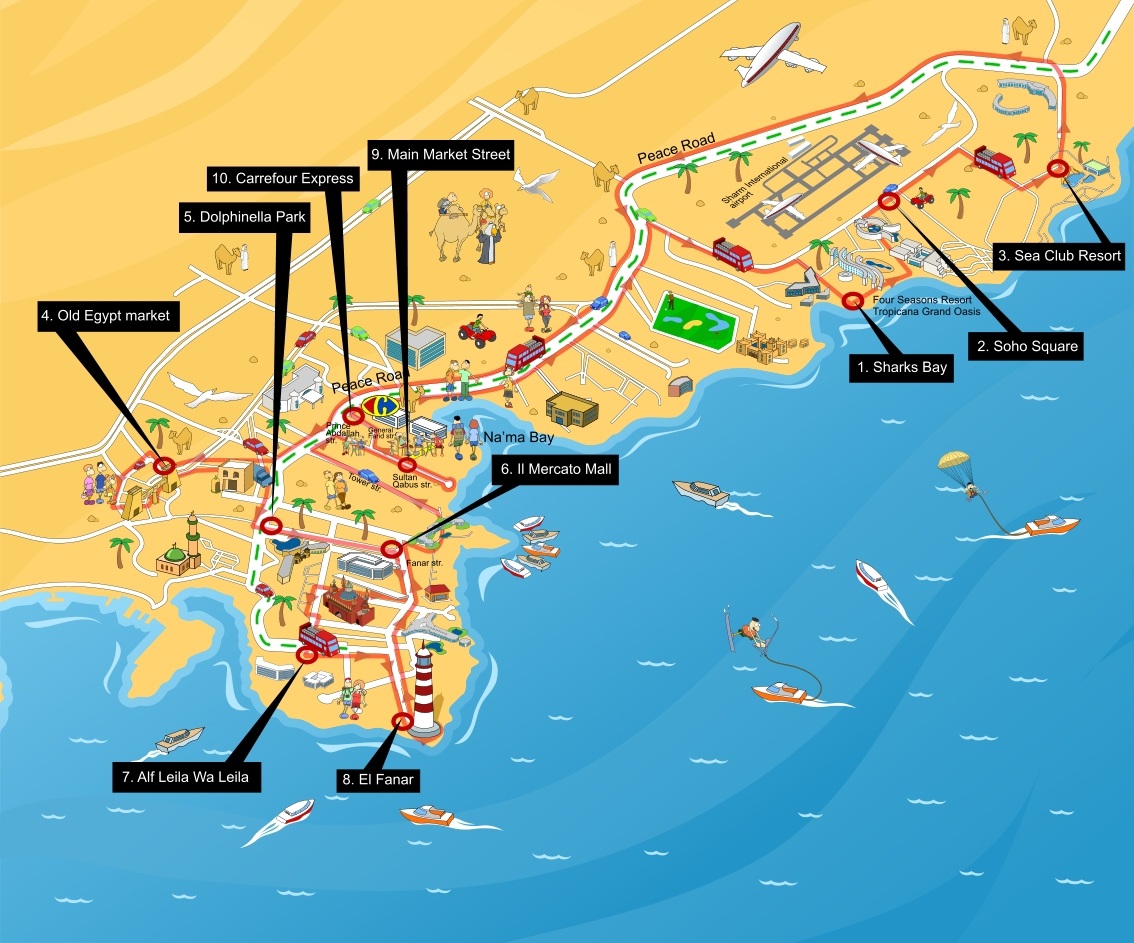 Maps on behance a map of sharm el sheikh to present a tour bus path and the sights it would be visiting gumiabroncs Choice Image
