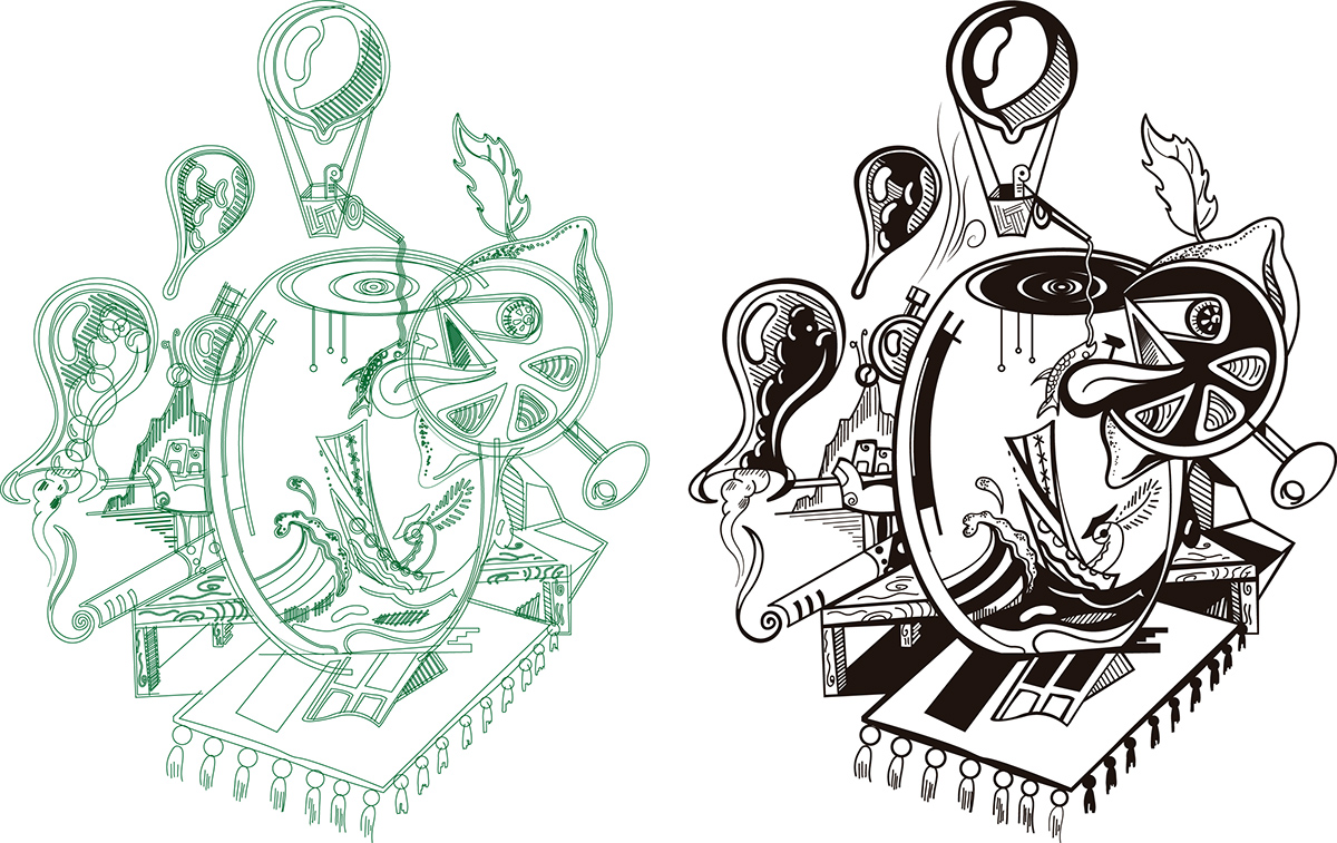 ilustracion pareidolia vector arte digital dibujo
