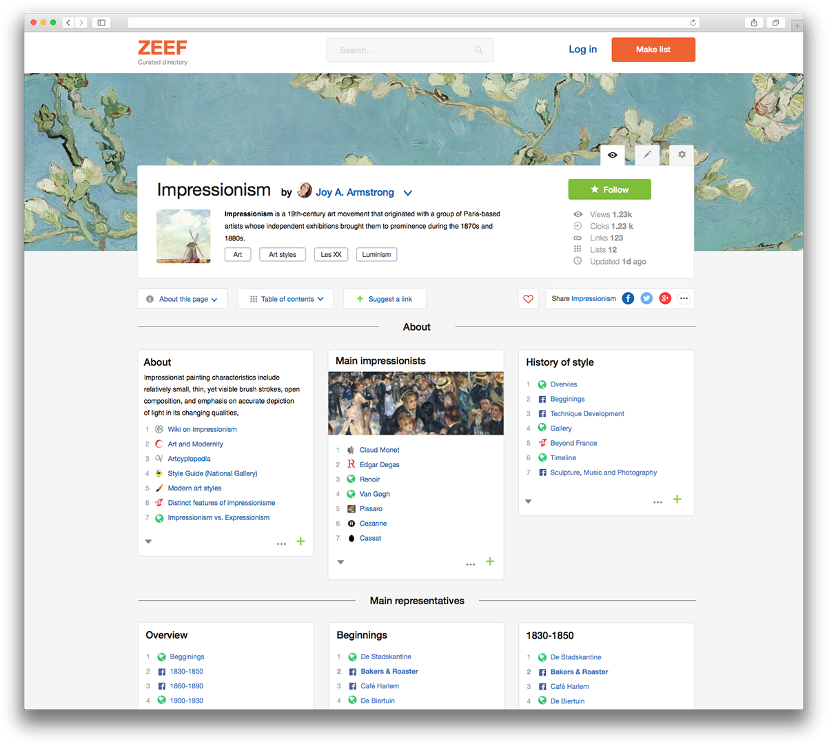 ZEEF directory Interface ui design Collection structure