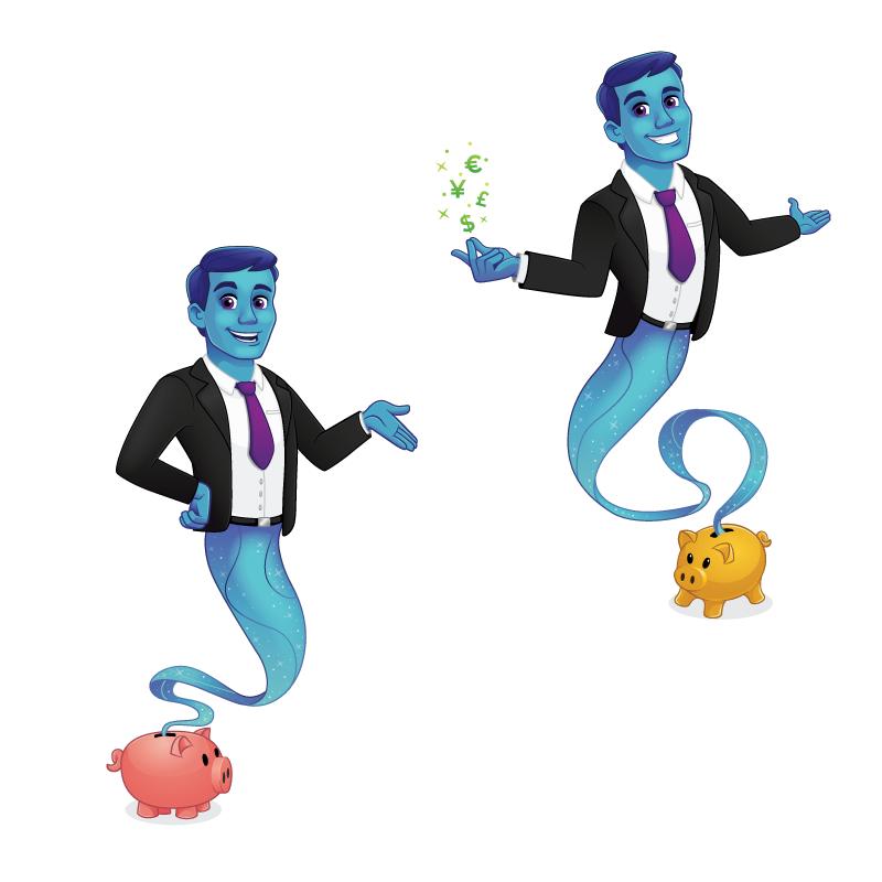 Mascot genie coins piggy bank Character
