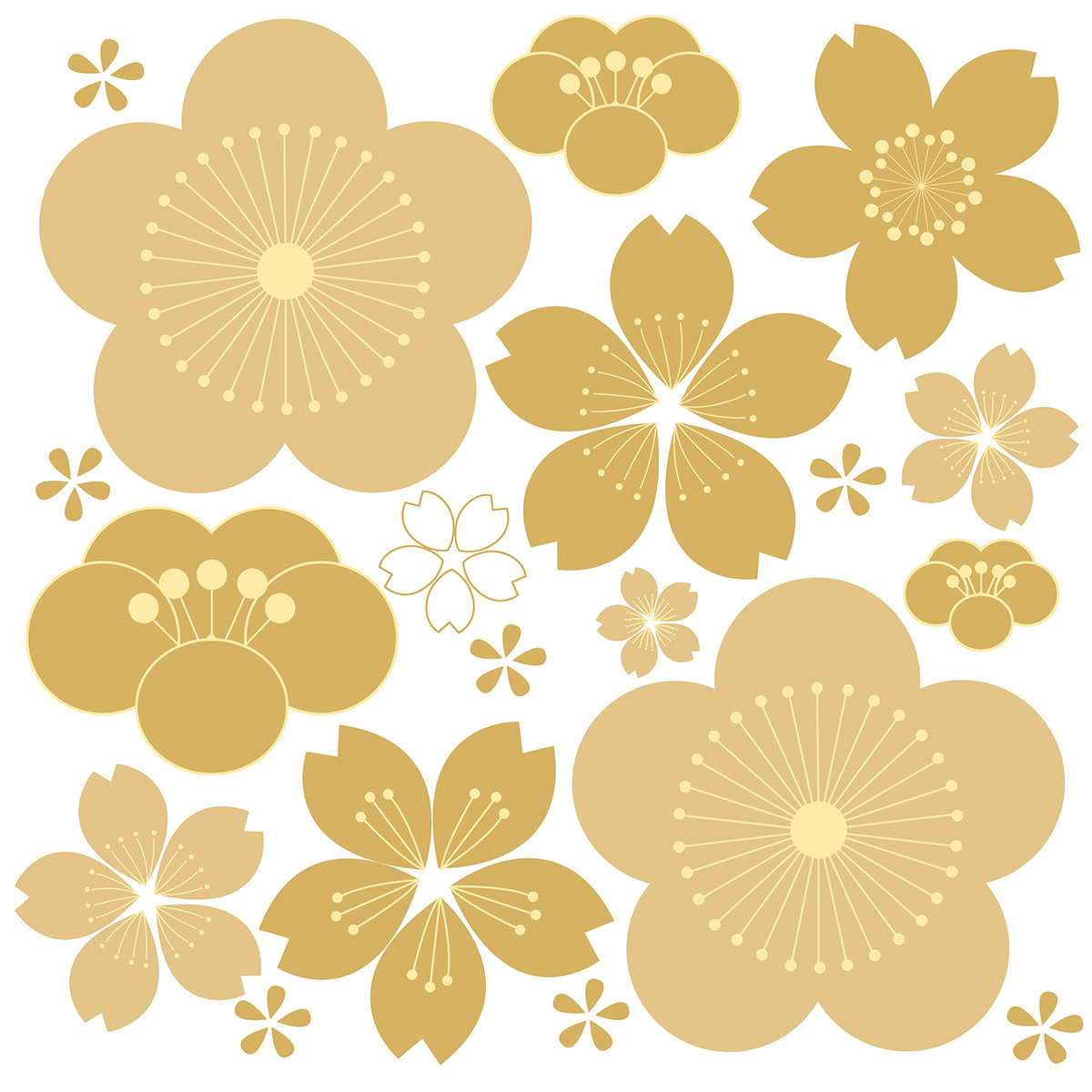 Floral Background With Japanese Pattern Vector Gold Ge On Behance