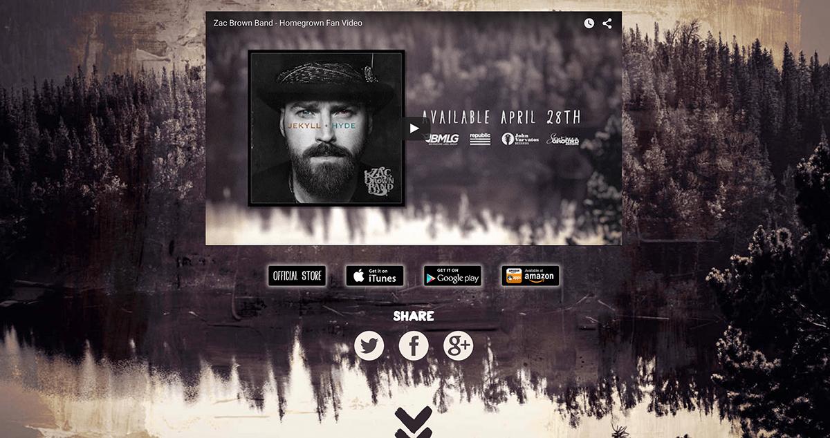 music video web app zac brown band