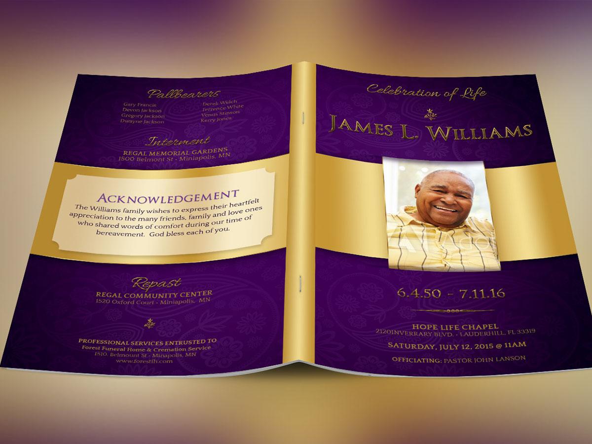 Regal Funeral Program Template Large on Behance