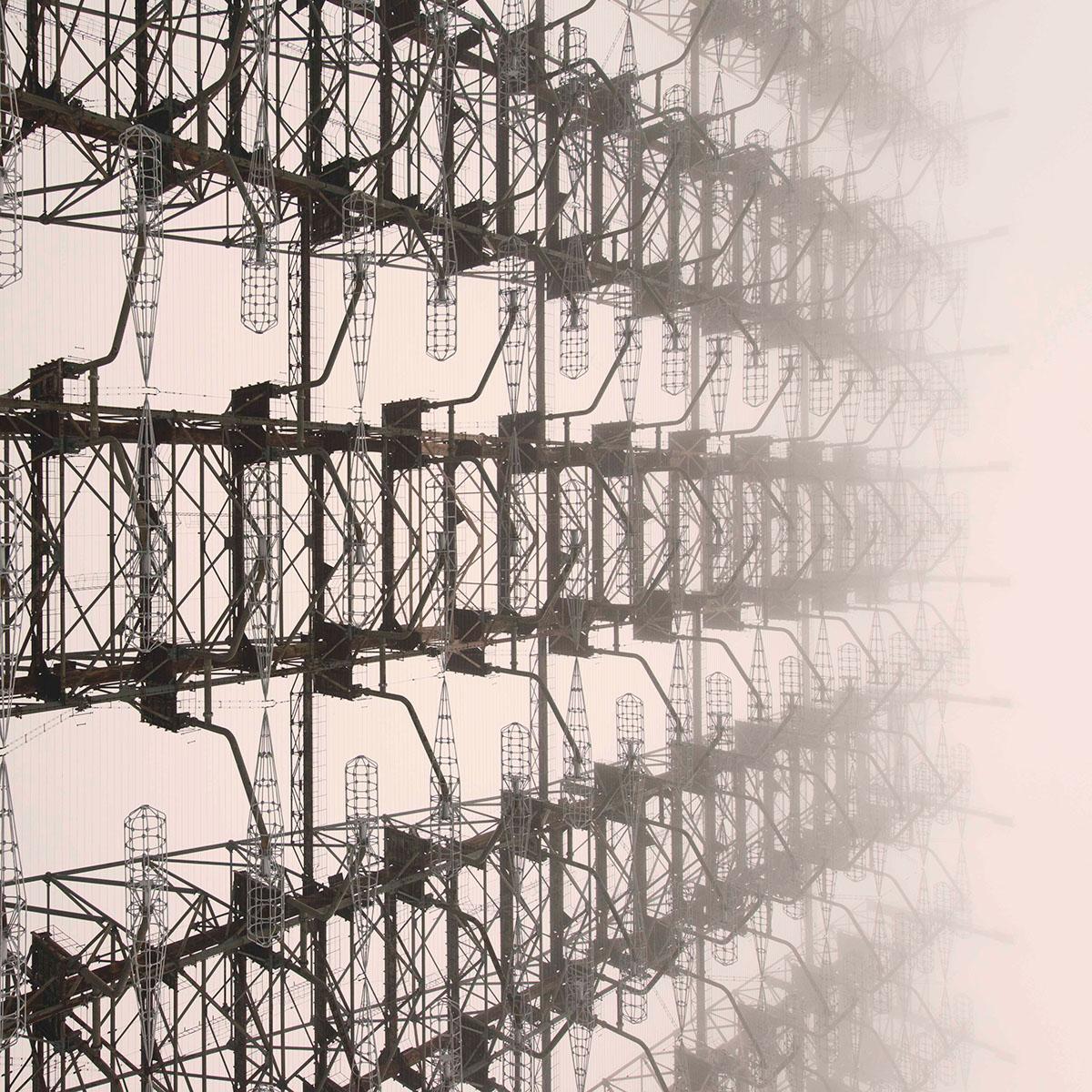 Cold War urbex abandoned antenna ukraine chernobyl duga details rust fog megastructure winter STEAMPUNK Monochromatic