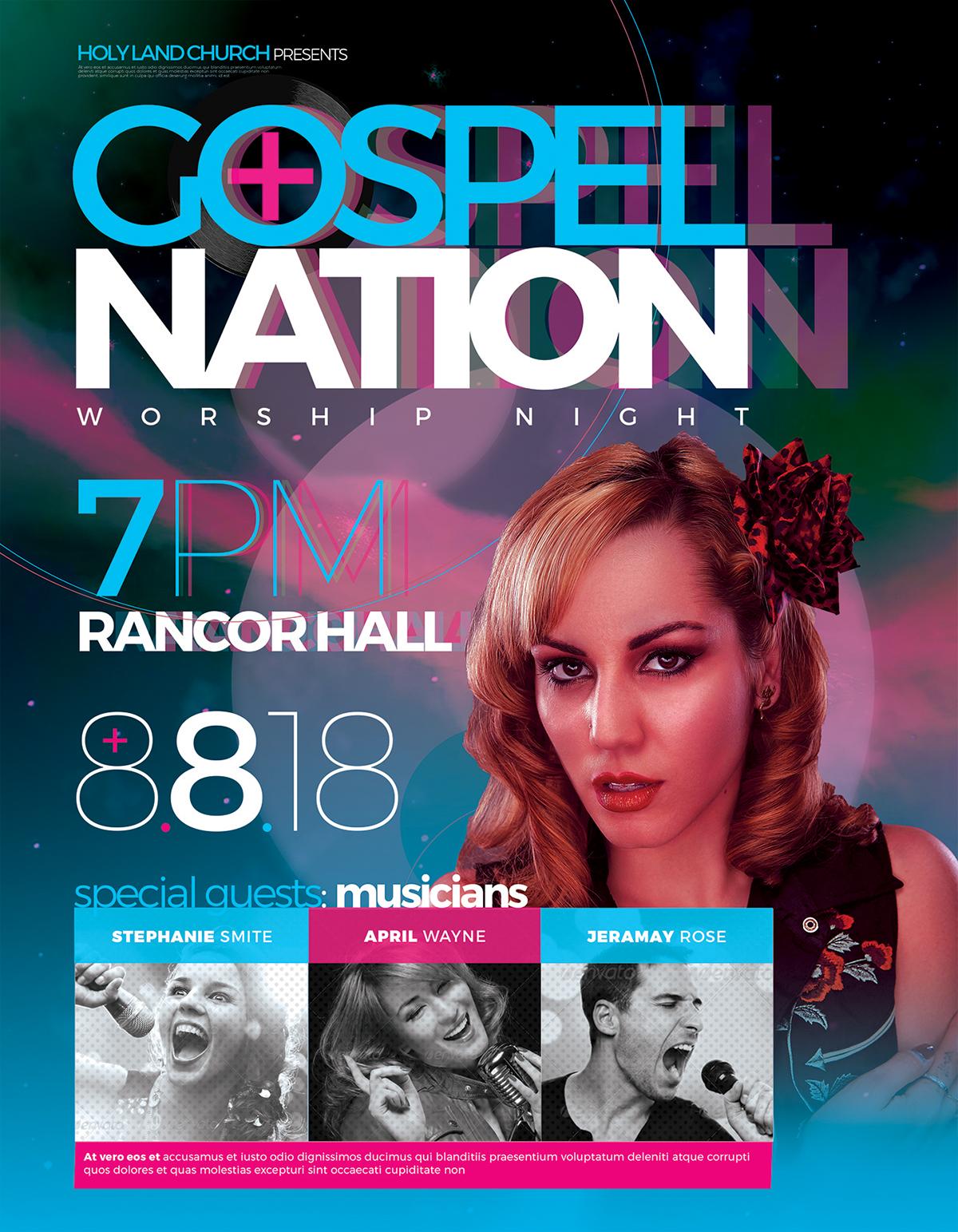 flyer template church modern worship
