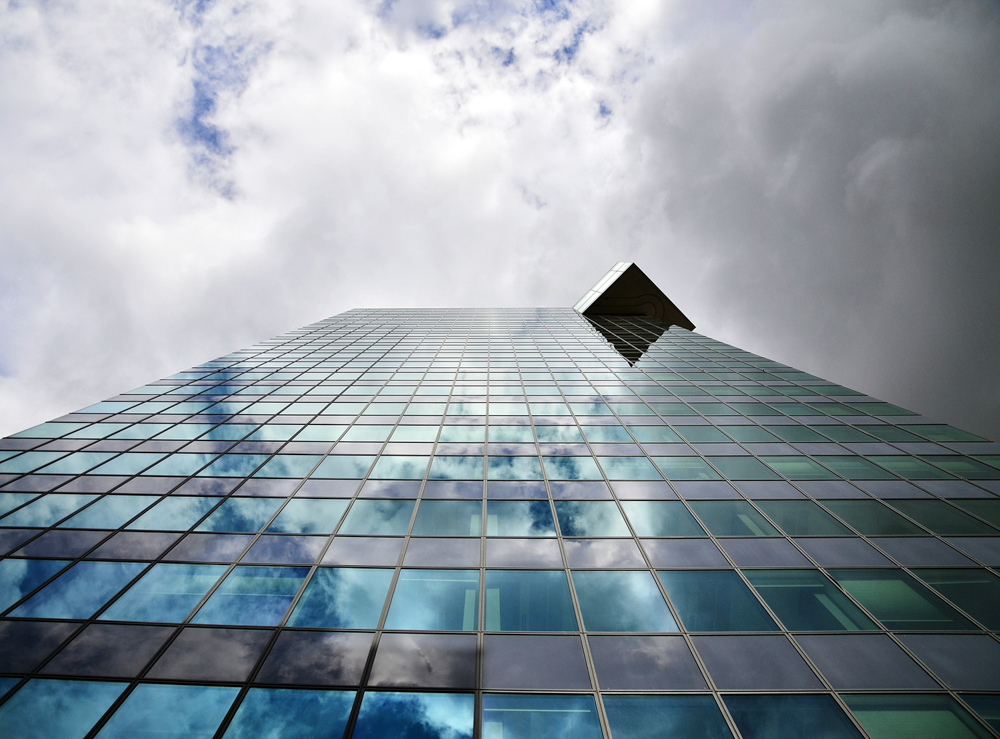 cube lines reflection building SKY clouds geometry